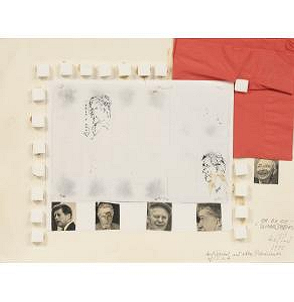"Lil Picard ""Andy Warhol and Other Presidents of the U.S.A.""  1975  (Mixed media with sugar cubes)"